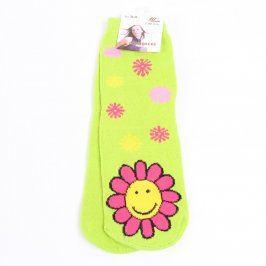 Dívčí zelené ponožky s kytičkami Lin Shi