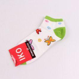 Dívčí bílozelené ponožky s motýlky IKO