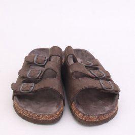 Dámské hnědé pantofle s vyšší podrážkou