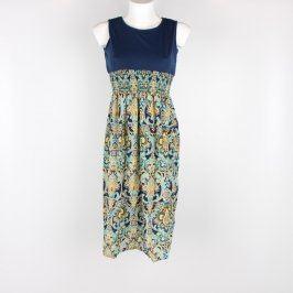 Dámské letní šaty modré s ornamenty