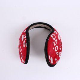 Klapky na uši dámské červené s černým lemem