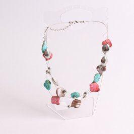 Náhrdelník drátěný s barevnými kamínky