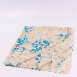 Dámský šátek béžový s modrými květy