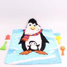 Dětský pončo župan s motivem tučňáka