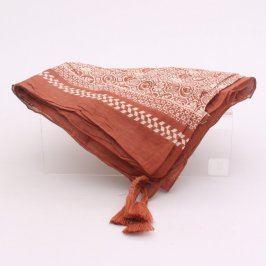 Dámský čtvercový šátek hnědobílé barvy