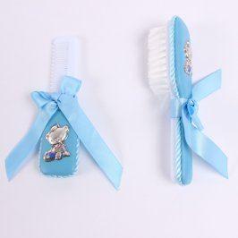 Sada hřebínků na česání miminka modré barvy