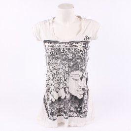 Dámské mini šaty sure bílé s černým potiskem