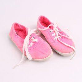 Dívčí látkové tenisky neonově růžové