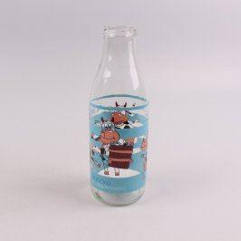 Skleněná lahev na mléko s motivem kraviček