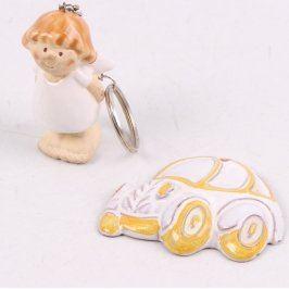 Přívěsek keramický anděl a auto