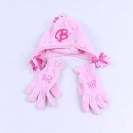Čepice a rukavice George růžové barvy