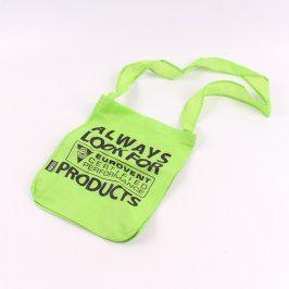 Nákupní taška přes rameno zelená s nápisem