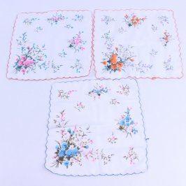 Dámské kapesníky bílé s květinami