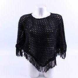 Dámské pletené pončo černé