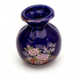 Váza keramická modrá s dekorem květin