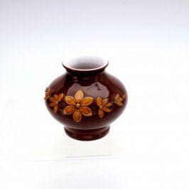 Váza keramická hnědé barvy s květinami