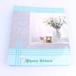 Fotoalbum na 100 fotografií modré s kyticí
