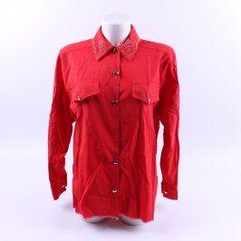 Dámská košile s dlouhým rukávem červená