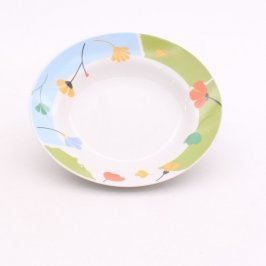 Porcelánový talíř hluboký s dekorem