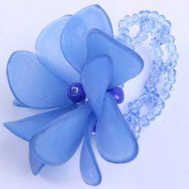 Dámský prsten s kytičkou modrý korálkový