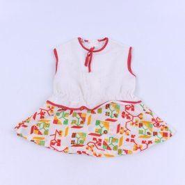 Dětské šaty bílo-červené barvy bez rukávů