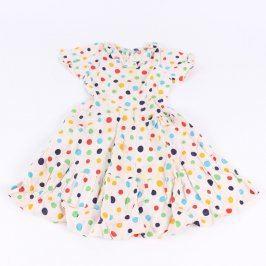 Dětské šaty bílé s barevnými puntíky
