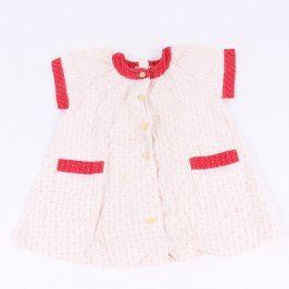 Dětské šaty bílé s červenými lemy
