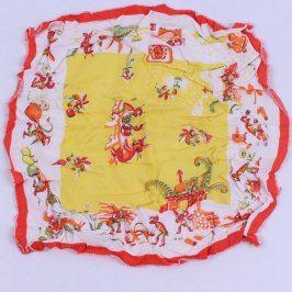 Dětský šátek bílo žlutý s červeným lemem