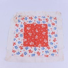 Dětský šátek bílý s motivem kytiček
