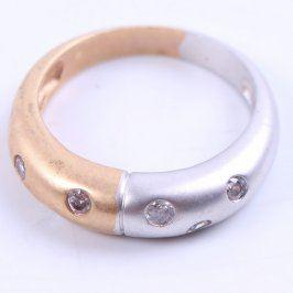 Dámský prsten stříbrno bronzový s kamínky