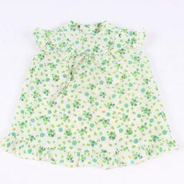 Dívčí tunika bílá s motivem zelených kytiček