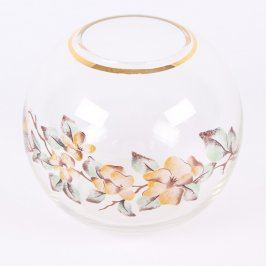 Skleněná nádoba kulatá s motivem květů