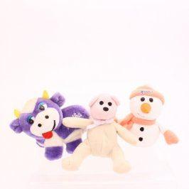 Hračky plyšové 3ks: kravička, sněhulák, méďa