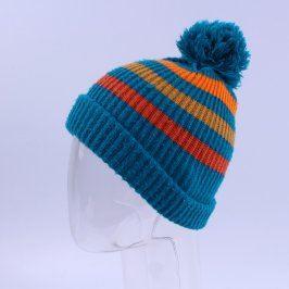 Čepice s bambulí modrá s oranžovými proužky