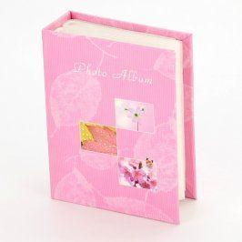 Fotoalbum růžové s motivem listů a květin