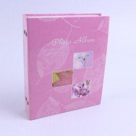 Fotoalbum růžové s motivem květin a listů