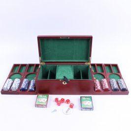 Žetony a karty na poker + hrací kostky