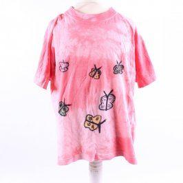 Dívčí růžové tričko ručně kreslené
