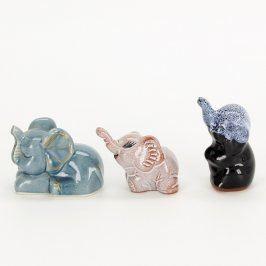 Keramická dekorace 3 barevní sloni