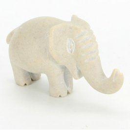 Dekorace šedý vyřezávaný slon