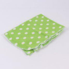 Deka dětská zelená s bílými puntíky