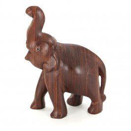 Dřevěná soška slona v hnědém provedení