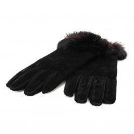 Dámské prstové rukavice s kožíškem černé