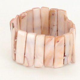 Náramek z kamínků odstín smetanové a hnědé