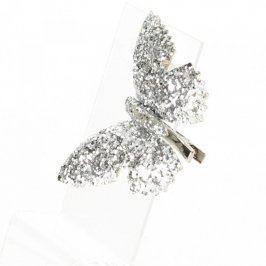 Spona do vlasů ve tvaru motýla stříbrná