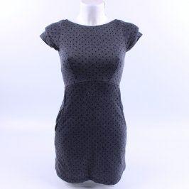 Dámské šaty Orsay šedé s černým puntíkem