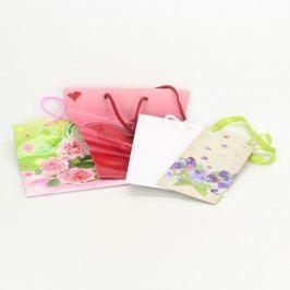 Dárkové tašky s motivem květin a srdce 4 ks