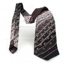 Pánská kravata černá se vzory