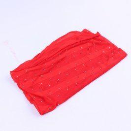 Dámská šála červené barvy s flitry