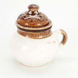 Konvice na čaj keramická bílo-hnědá